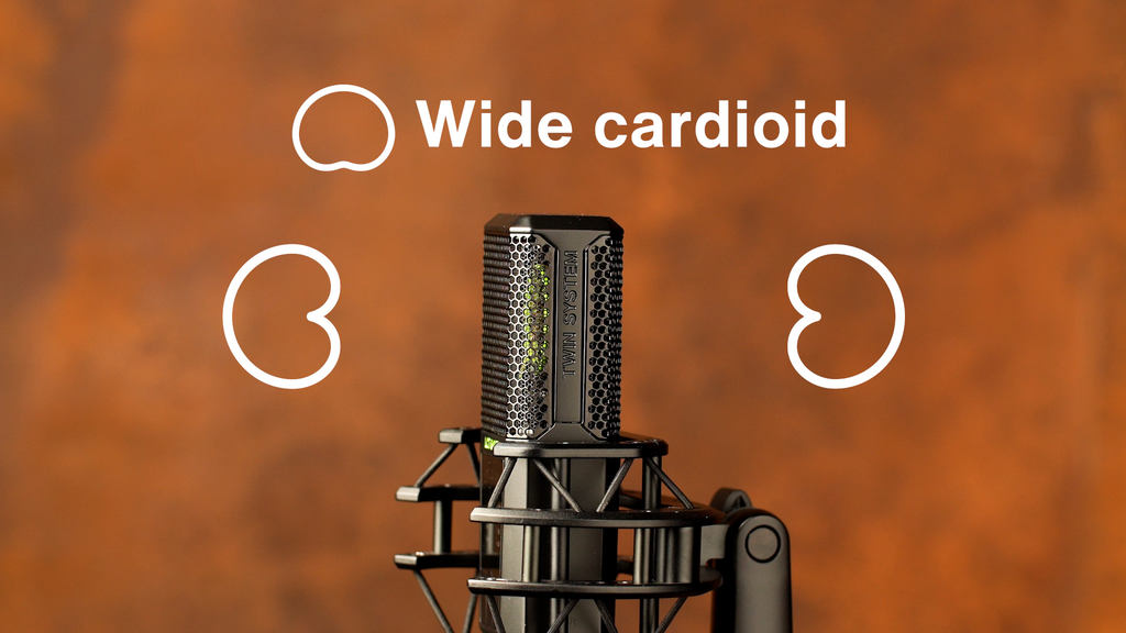 Wide cardioid is created from two cardioid polar patterns by reducing the sensitivity on one of the two sides