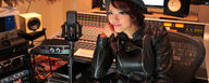 Rie Tsuji with her LCT 940 reference condenser FET studio microphone [Photo © David Chua]